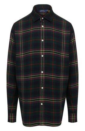 Женская хлопковая рубашка POLO RALPH LAUREN темно-зеленого цвета, арт. 211846919 | Фото 1 (Длина (для топов): Удлиненные; Материал внешний: Хлопок; Рукава: Длинные; Женское Кросс-КТ: Рубашка-одежда; Принт: С принтом, Клетка)