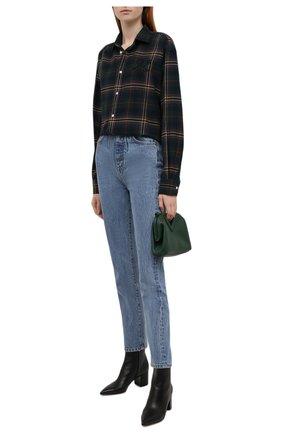 Женская хлопковая рубашка POLO RALPH LAUREN темно-зеленого цвета, арт. 211846919 | Фото 2 (Длина (для топов): Удлиненные; Материал внешний: Хлопок; Рукава: Длинные; Женское Кросс-КТ: Рубашка-одежда; Принт: С принтом, Клетка)