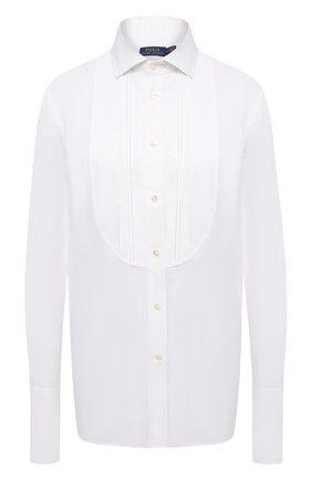 Женская хлопковая рубашка POLO RALPH LAUREN белого цвета, арт. 211815383 | Фото 1 (Материал внешний: Хлопок; Длина (для топов): Удлиненные; Рукава: Длинные; Женское Кросс-КТ: Рубашка-одежда; Стили: Классический)