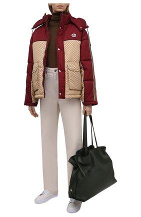 Женская утепленная куртка GUCCI красного цвета, арт. 663279/ZAHB8 | Фото 2 (Рукава: Длинные; Материал внешний: Синтетический материал; Материал подклада: Синтетический материал; Длина (верхняя одежда): Короткие; Кросс-КТ: Куртка; Стили: Спорт-шик)