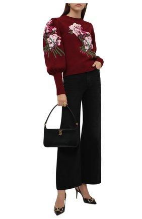Женский шерстяной свитер GUCCI бордового цвета, арт. 664326/X1274 | Фото 2 (Длина (для топов): Стандартные; Материал внешний: Шерсть; Рукава: Длинные; Женское Кросс-КТ: Свитер-одежда; Стили: Романтичный)