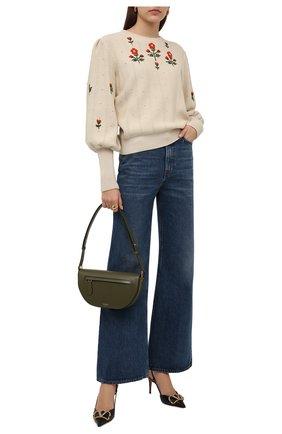 Женский пуловер из шерсти и хлопка GUCCI светло-бежевого цвета, арт. 653328/XKBS9 | Фото 2 (Материал внешний: Хлопок, Шерсть; Рукава: Длинные; Длина (для топов): Стандартные; Женское Кросс-КТ: Пуловер-одежда; Стили: Романтичный)