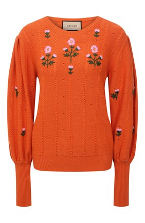 Женский пуловер из шерсти и хлопка GUCCI оранжевого цвета, арт. 653328/XKBS9 | Фото 1 (Рукава: Длинные; Длина (для топов): Стандартные; Материал внешний: Хлопок, Шерсть; Женское Кросс-КТ: Пуловер-одежда; Стили: Романтичный)