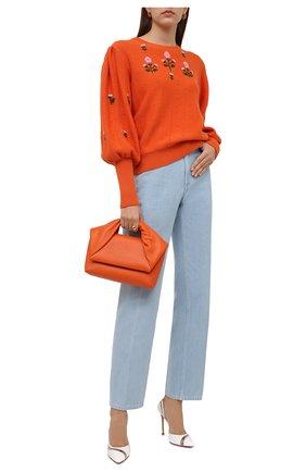 Женский пуловер из шерсти и хлопка GUCCI оранжевого цвета, арт. 653328/XKBS9 | Фото 2 (Рукава: Длинные; Длина (для топов): Стандартные; Материал внешний: Хлопок, Шерсть; Женское Кросс-КТ: Пуловер-одежда; Стили: Романтичный)
