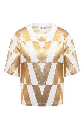 Женская хлопковая футболка VALENTINO золотого цвета, арт. WB0MG15L6RC   Фото 1 (Рукава: Короткие; Материал внешний: Хлопок; Длина (для топов): Стандартные; Женское Кросс-КТ: Футболка-одежда; Принт: С принтом; Стили: Гламурный)