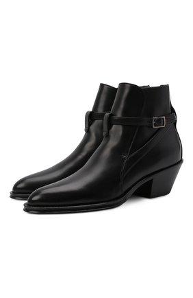 Женские кожаные ботильоны SAINT LAURENT черного цвета, арт. 670251/25X00 | Фото 1 (Материал внутренний: Натуральная кожа; Каблук высота: Низкий; Подошва: Плоская; Каблук тип: Устойчивый)