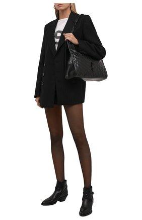 Женские кожаные ботильоны SAINT LAURENT черного цвета, арт. 670251/25X00 | Фото 2 (Материал внутренний: Натуральная кожа; Каблук высота: Низкий; Подошва: Плоская; Каблук тип: Устойчивый)