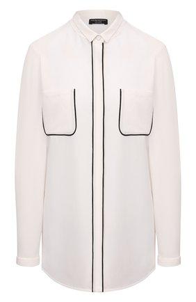 Женская шелковая блузка EMPORIO ARMANI кремвого цвета, арт. BNC15T/B2301 | Фото 1 (Материал внешний: Шелк; Рукава: Длинные; Длина (для топов): Стандартные; Женское Кросс-КТ: Блуза-одежда; Стили: Кэжуэл)