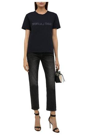 Женская хлопковая футболка SAINT LAURENT темно-синего цвета, арт. 665234/Y36HE | Фото 2 (Рукава: Короткие; Длина (для топов): Стандартные; Материал внешний: Хлопок; Женское Кросс-КТ: Футболка-одежда; Принт: С принтом; Стили: Кэжуэл)