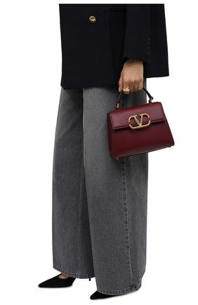 Женская сумка vsling  small VALENTINO бордового цвета, арт. WW0B0F53/WFD | Фото 2 (Материал: Натуральная кожа; Сумки-технические: Сумки top-handle, Сумки через плечо; Ремень/цепочка: На ремешке; Размер: small)