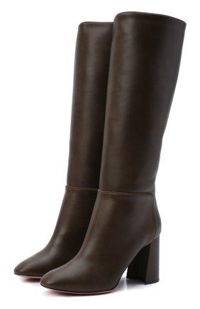 Женские кожаные сапоги portland 85 AQUAZZURA коричневого цвета, арт. P0RMIDB0-CFS-DGS   Фото 1 (Подошва: Плоская; Материал внутренний: Натуральная кожа; Высота голенища: Средние; Каблук высота: Высокий; Каблук тип: Устойчивый)