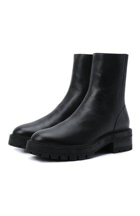 Женские кожаные ботинки saint honore AQUAZZURA черного цвета, арт. SBCFLAB0-SCA-000 | Фото 1 (Материал внутренний: Натуральная кожа; Подошва: Платформа; Каблук высота: Низкий; Женское Кросс-КТ: Военные ботинки)