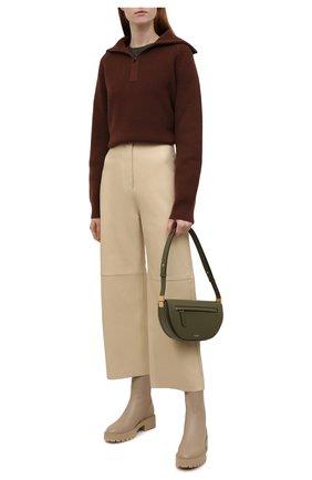 Женские кожаные ботинки saint honore AQUAZZURA бежевого цвета, арт. SBCFLAB0-SCA-SFB | Фото 2 (Подошва: Платформа; Материал внутренний: Натуральная кожа; Каблук высота: Низкий; Женское Кросс-КТ: Военные ботинки)