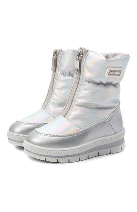Детские утепленные ботинки JOG DOG серебряного цвета, арт. 13003R/ZAFFIR0 H0L0GRAM/23-28   Фото 1 (Материал внешний: Текстиль; Материал утеплителя: Шерсть)