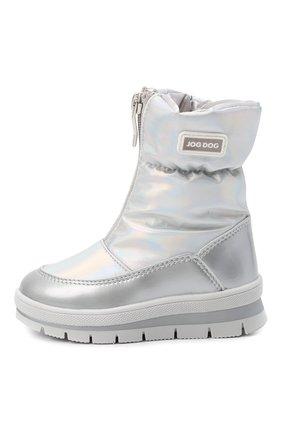 Детские утепленные ботинки JOG DOG серебряного цвета, арт. 13003R/ZAFFIR0 H0L0GRAM/23-28   Фото 2 (Материал внешний: Текстиль; Материал утеплителя: Шерсть)