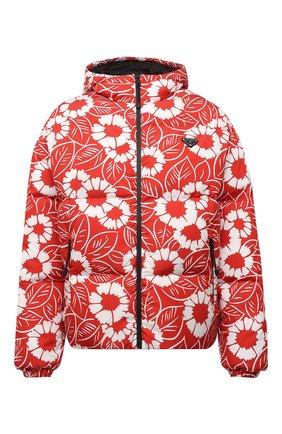 Мужская утепленная куртка PRADA LINEA ROSSA красного цвета, арт. SGC025-10UU-F0976-212   Фото 1 (Материал внешний: Синтетический материал; Кросс-КТ: Куртка, другое; Мужское Кросс-КТ: пуховик-короткий; Стили: Спорт-шик; Длина (верхняя одежда): Короткие)