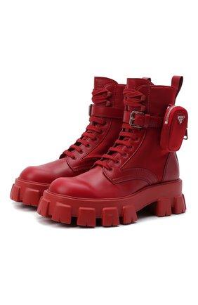 Мужские кожаные ботинки monolith PRADA LINEA ROSSA красного цвета, арт. 2UE007-3LFR-F0D56-D002   Фото 1 (Мужское Кросс-КТ: Ботинки-обувь)