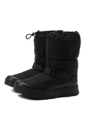 Мужские утепленные сапоги PRADA LINEA ROSSA черного цвета, арт. 2UE024-3LFV-F0002 | Фото 1 (Материал внешний: Текстиль; Мужское Кросс-КТ: Сапоги-обувь, зимние сапоги)