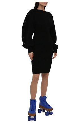 Женские роликовые коньки quilt BOTTEGA VENETA синего цвета, арт. 667142/V00T0 | Фото 2 (Материал внешний: Резина, Экокожа; Кросс-КТ: хайтопы; Подошва: Платформа)