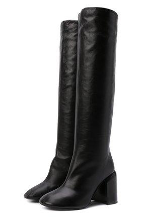Женские кожаные сапоги JIL SANDER черного цвета, арт. JS37233A-14012 | Фото 1 (Высота голенища: Средние; Материал внутренний: Натуральная кожа; Каблук высота: Высокий; Подошва: Плоская; Каблук тип: Устойчивый)