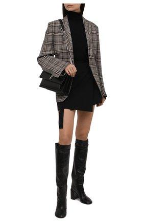 Женские кожаные сапоги JIL SANDER черного цвета, арт. JS37233A-14012 | Фото 2 (Высота голенища: Средние; Материал внутренний: Натуральная кожа; Каблук высота: Высокий; Подошва: Плоская; Каблук тип: Устойчивый)