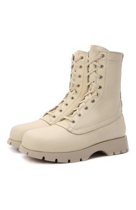 Женские кожаные ботинки JIL SANDER кремвого цвета, арт. JS37266A-14171 | Фото 1 (Материал внутренний: Натуральная кожа; Подошва: Платформа; Каблук высота: Низкий; Женское Кросс-КТ: Военные ботинки)