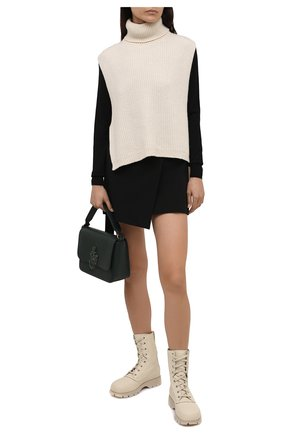 Женские кожаные ботинки JIL SANDER кремвого цвета, арт. JS37266A-14171 | Фото 2 (Материал внутренний: Натуральная кожа; Подошва: Платформа; Каблук высота: Низкий; Женское Кросс-КТ: Военные ботинки)