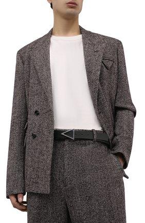 Мужской кожаный ремень BOTTEGA VENETA темно-зеленого цвета, арт. 657154/VMAU3 | Фото 2 (Случай: Повседневный)