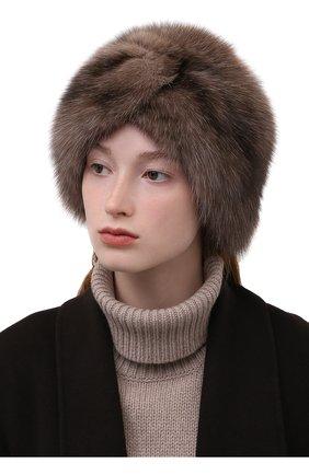 Женская шапка-чалма из меха соболя KUSSENKOVV разноцветного цвета, арт. 143600005271   Фото 2 (Материал: Натуральный мех)