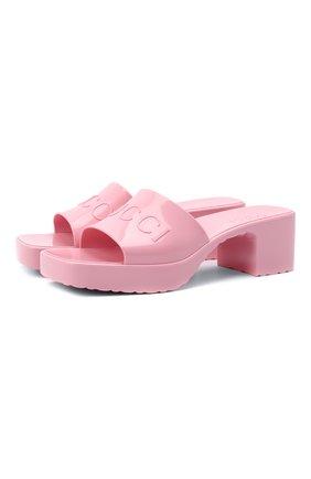 Женские резиновые мюли GUCCI розового цвета, арт. 624730/J8700 | Фото 1 (Материал внешний: Резина; Каблук тип: Устойчивый; Каблук высота: Средний; Подошва: Платформа)