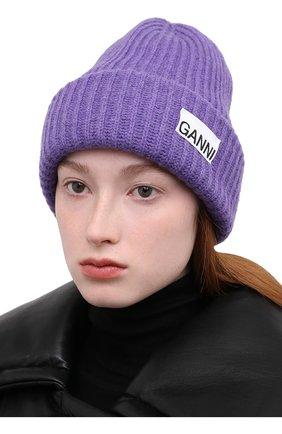 Женская шерстяная шапка GANNI фиолетового цвета, арт. A3532 | Фото 2 (Материал: Шерсть)