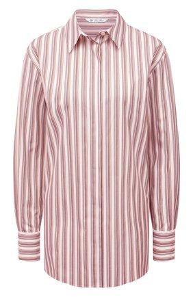 Женская хлопковая рубашка LORO PIANA розового цвета, арт. FAL8093 | Фото 1 (Материал внешний: Хлопок; Женское Кросс-КТ: Рубашка-одежда; Рукава: Длинные; Длина (для топов): Удлиненные; Принт: С принтом, Полоска; Стили: Кэжуэл)