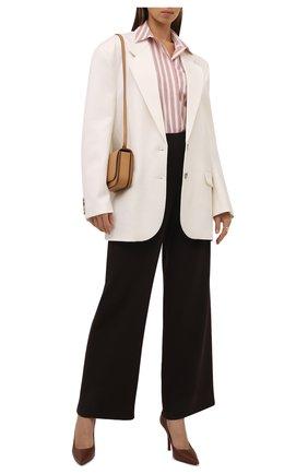Женская хлопковая рубашка LORO PIANA розового цвета, арт. FAL8093 | Фото 2 (Материал внешний: Хлопок; Женское Кросс-КТ: Рубашка-одежда; Рукава: Длинные; Длина (для топов): Удлиненные; Принт: С принтом, Полоска; Стили: Кэжуэл)