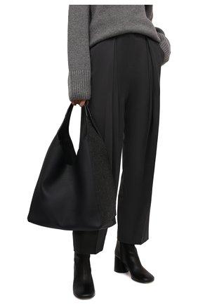 Женский сумка-шопер melton cash LORO PIANA темно-серого цвета, арт. FAL7123 | Фото 2 (Материал: Текстиль; Размер: large; Сумки-технические: Сумки-шопперы)