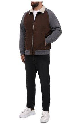 Мужской комбинированный бомбер fattori-me MOORER коричневого цвета, арт. FATT0RI-ME/M0UB0100101-TEPA204/60-68   Фото 2 (Рукава: Длинные; Длина (верхняя одежда): Короткие; Материал внешний: Синтетический материал; Материал утеплителя: Натуральный мех; Мужское Кросс-КТ: Кожа и замша; Кросс-КТ: Куртка; Принт: Без принта; Стили: Кэжуэл; Big sizes: Big Sizes)