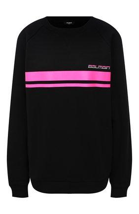 Женский хлопковый свитшот balmain x rossignol BALMAIN черного цвета, арт. WF2JQ000/B099   Фото 1 (Материал внешний: Хлопок; Рукава: Длинные; Длина (для топов): Стандартные; Женское Кросс-КТ: Свитшот-одежда; Стили: Спорт-шик)