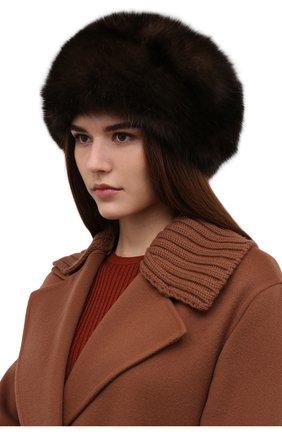 Женская шапка из меха соболя KUSSENKOVV коричневого цвета, арт. 013500003008 | Фото 2 (Материал: Натуральный мех)