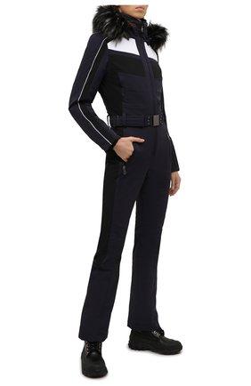 Женский комбинезон POIVRE BLANC синего цвета, арт. 286950 | Фото 2 (Длина (брюки, джинсы): Стандартные; Материал подклада: Синтетический материал; Материал внешний: Синтетический материал; Рукава: Длинные; Женское Кросс-КТ: Комбинезон-одежда, Комбинезон-спорт; Стили: Спорт-шик; Случай: Повседневный)