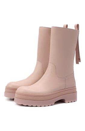 Женские кожаные сапоги REDVALENTINO розового цвета, арт. WQ0S0G11/DMH   Фото 1 (Подошва: Платформа; Материал внутренний: Натуральная кожа; Каблук высота: Средний; Каблук тип: Устойчивый)
