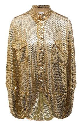 Женская блузка BURBERRY золотого цвета, арт. 8047160 | Фото 1 (Рукава: Длинные; Длина (для топов): Удлиненные; Материал внешний: Синтетический материал; Стили: Гламурный; Принт: Без принта; Женское Кросс-КТ: Блуза-одежда)