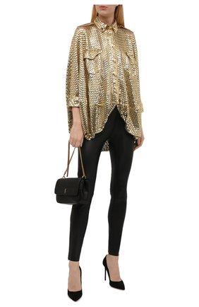 Женская блузка BURBERRY золотого цвета, арт. 8047160 | Фото 2 (Рукава: Длинные; Длина (для топов): Удлиненные; Материал внешний: Синтетический материал; Стили: Гламурный; Принт: Без принта; Женское Кросс-КТ: Блуза-одежда)