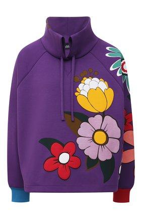 Женский хлопковый пуловер DOLCE & GABBANA фиолетового цвета, арт. F9J32T/G7YZY | Фото 1 (Длина (для топов): Стандартные; Материал внешний: Хлопок; Рукава: Длинные; Стили: Спорт-шик; Женское Кросс-КТ: Пуловер-одежда)