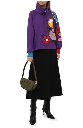 Женский хлопковый пуловер DOLCE & GABBANA фиолетового цвета, арт. F9J32T/G7YZY | Фото 2 (Длина (для топов): Стандартные; Материал внешний: Хлопок; Рукава: Длинные; Стили: Спорт-шик; Женское Кросс-КТ: Пуловер-одежда)