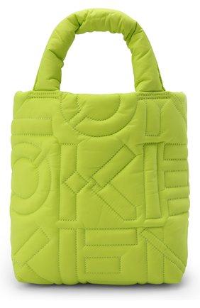 Женский сумка-шопер small KENZO желтого цвета, арт. FB62SA002F08 | Фото 1 (Размер: small; Ремень/цепочка: На ремешке; Материал: Текстиль; Ошибки технического описания: Нет глубины; Сумки-технические: Сумки-шопперы)