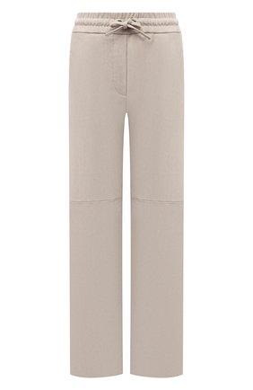 Женские замшевые брюки BRUNELLO CUCINELLI светло-бежевого цвета, арт. M0W30P7698 | Фото 1 (Длина (брюки, джинсы): Стандартные; Стили: Кэжуэл; Женское Кросс-КТ: Брюки-одежда; Силуэт Ж (брюки и джинсы): Широкие)