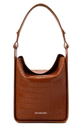 Женская сумка tool s BALENCIAGA коричневого цвета, арт. 659920/23E01 | Фото 1 (Размер: medium; Материал: Натуральная кожа; Ремень/цепочка: На ремешке; Сумки-технические: Сумки top-handle)