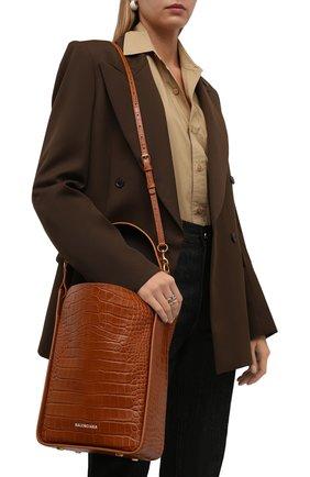 Женская сумка tool s BALENCIAGA коричневого цвета, арт. 659920/23E01 | Фото 2 (Размер: medium; Материал: Натуральная кожа; Ремень/цепочка: На ремешке; Сумки-технические: Сумки top-handle)