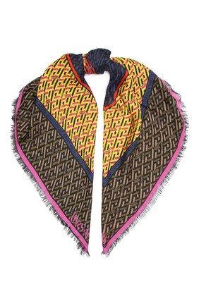 Женский шарф из шерсти и шелка VERSACE желтого цвета, арт. 1001599/1A01961 | Фото 1 (Материал: Шерсть, Текстиль, Шелк)