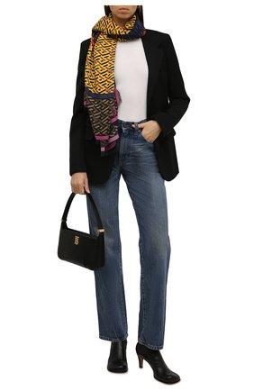 Женский шарф из шерсти и шелка VERSACE желтого цвета, арт. 1001599/1A01961 | Фото 2 (Материал: Шерсть, Текстиль, Шелк)