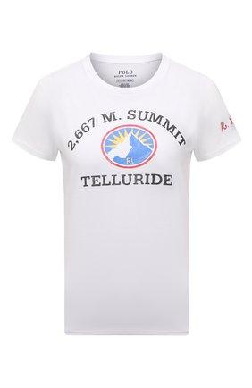 Женская хлопковая футболка POLO RALPH LAUREN белого цвета, арт. 211846886 | Фото 1 (Рукава: Короткие; Длина (для топов): Стандартные; Материал внешний: Хлопок; Стили: Спорт-шик; Принт: С принтом; Женское Кросс-КТ: Футболка-одежда)